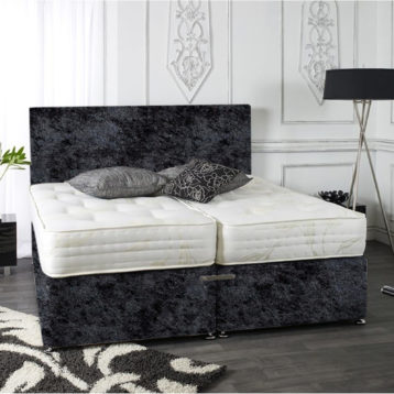 ZIP AND LINK CRUSHED VELVET DIVAN BED SET ORTHO SPRING + HEADBOARD
