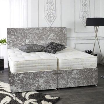 ZIP AND LINK CRUSHED VELVET DIVAN BED SET MEMORY WITH HEADBOARDS