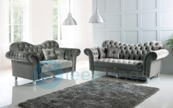 ITALIAN CHESTERFIELD ELEGANCE 3+2 SET GREY