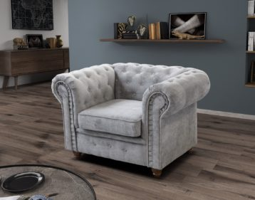 HABLO CHESTERFIELD ARMCHAIR SILVER