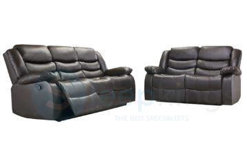 RECLINER LEATHER SOFAS 3+2 BROWN